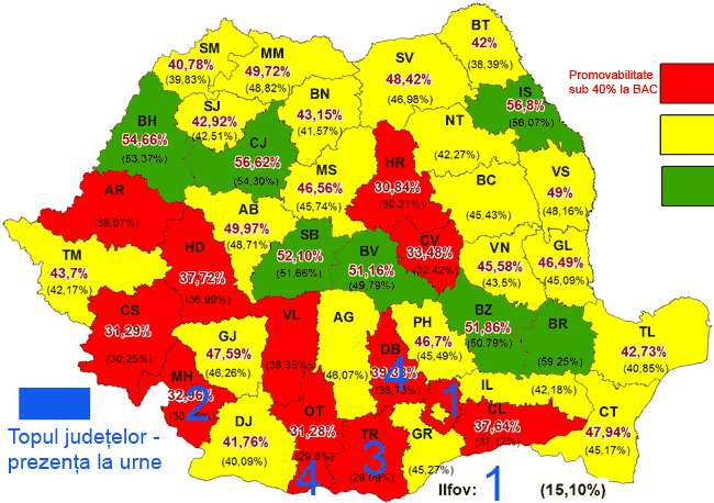 harta rezultate bac tara 2012 romania